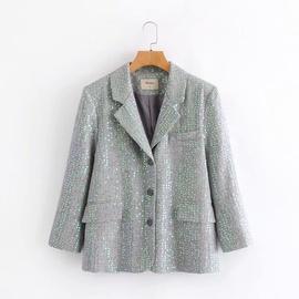 Colorful Sequins Loose Drape Suit Jacket NSAM36323