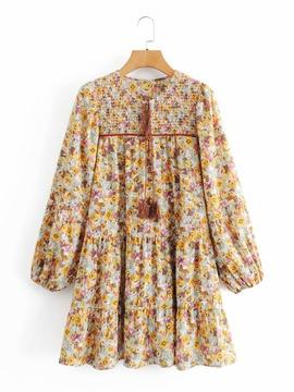 Flower Printing Stretch Loose Layered Dress NSAM36330