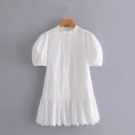 New Loose Hollow Embroidery Short-sleeved Ruffle Dress  NSAM36339