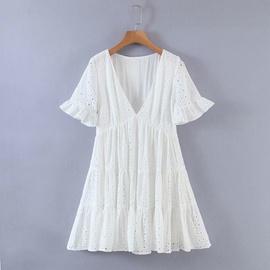 New Embroidered Hollow Design V-neck Short-sleeved Dress  NSAM36343