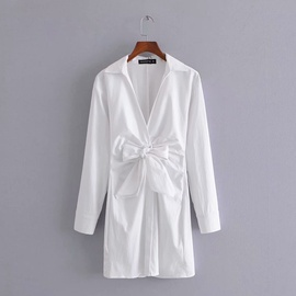 Spring Knotted Long-sleeved Shirt Dress  NSAM36364