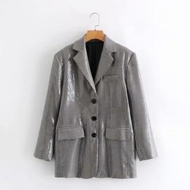 Colorful Sequins Plaid Suit Jacket  NSAM36375