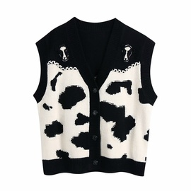 Contrast Color Animal Print Knitted Vest   NSAM36384
