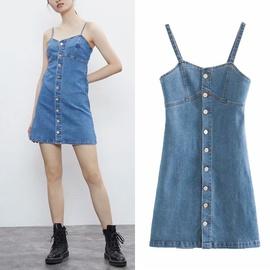 Suspender Summer New Fashion Stitching A-line Jeans Skirt NSLD36405