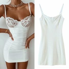 Stitching Lace Sling Dress NSLD36424