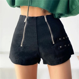 Double Zipper Mid-to-low Waist Jeans Shorts NSLD36432