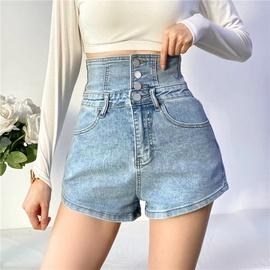 Waist Strap Design Stretch Jeans Shorts NSLD36438