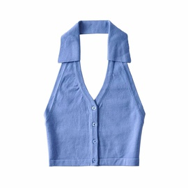 Solid Color Lapel Halter Knit Single-breasted Camisole NSAC36493
