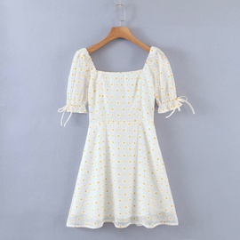 New Summer Lattice Lace Square Neck Short Sleeve Dress NSAC36506