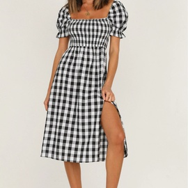 New Sexy Square Collar Plaid Short Sleeve Side Slit Dress  NSYD36511