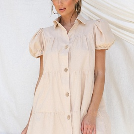 Lapel Short-sleeved Single-breasted Cardigan Solid Color Dress  NSYD36512