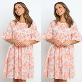 Round Neck Short-sleeved Pleated Printing Loose Dress  NSYD36513