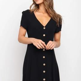 Summer New Style V-neck Short Sleeve Single Breasted Solid Color Dress  NSYD36514