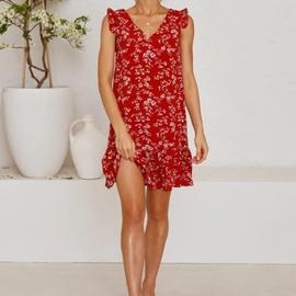Summer New V-neck Sleeveless Ruffled Print Dress  NSYD36516