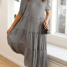 Short-sleeved Loose Pleated Big Dress  NSYD36522