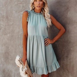 Round Neck Sleeveless Loose Pleated Solid Color Dress  NSYD36523