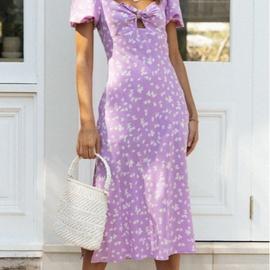 Summer New Short-sleeved Lace-up Side Slit Mid-size Dress NSYD36526