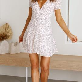 V-neck Short-sleeved Printed Dress  NSYD36528