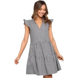 Summer New Style V-neck Pleated Plaid Dress  NSYD36531