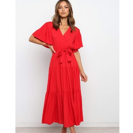Pure Color Short-sleeved Long Dress NSYD36532