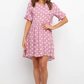 Round Neck Short-sleeved Printing Dress  NSYD36533