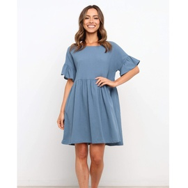 Round Neck Short Sleeve Loose Pleated Solid Color Dress  NSYD36535