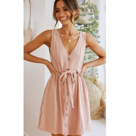 V-neck Sleeveless Single-breasted Pure Color Cotton Lace-up Dress NSYD36536