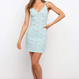 Sexy Deep V Sleeveless Suspender Printed Dress NSYD36537