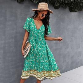 Print Spring And Summer V-neck Short Sleeve Dress NSDY36589