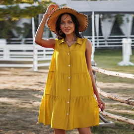 Spring/summer New Sleeveless Shirt Collar Solid Color Skirt NSDY36594