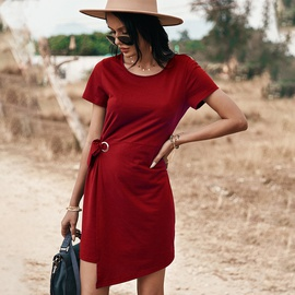 Spring And Summer New Pure Color Knitted Dress NSDY36595