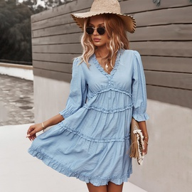 V-neck Sexy Leisure Vacation Style Dress NSDY36607