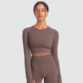 Knitted Solid Color Seamless Yoga Two-piece Set  NSLX36651