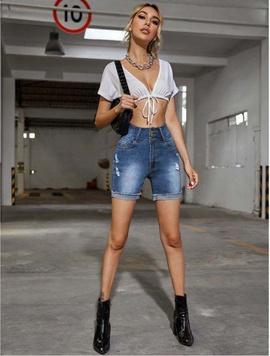Fashion High Waist Thin Denim Shorts NSCX36668