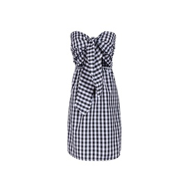 Plaid Straps Slim Sexy Fake Two-piece Dress  NSJR36694