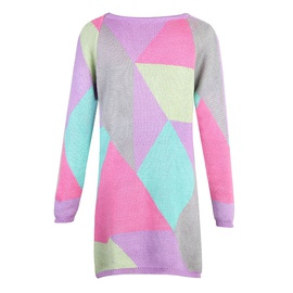 Contrast Pattern Mid-length Round Neck Pullover Long Sleeve Sweater  NSJR36702