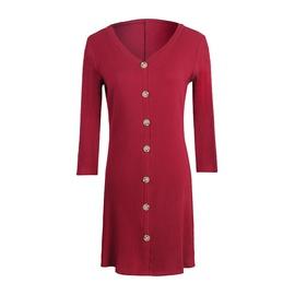 Cotton Pit Button V-neck Sleeve Dress  NSJR36703