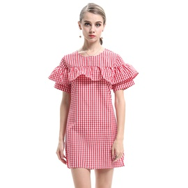 New Round Neck Slim Plaid Short Sleeve Dress  NSJR36721
