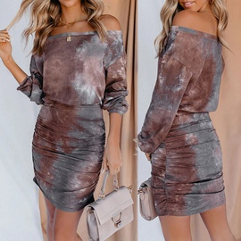 Printed Long-sleeved Sexy Pleated Dress NSKX36800