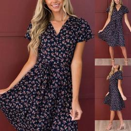 Short Sleeve V-neck Lace High Waist Dress NSKX36801