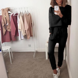 New Solid Color Long-sleeved Fashion Home Casual Set NSKX36808