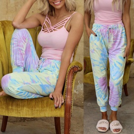 tie-dye printing loose mid-waist lace-up casual pants NSKX36812