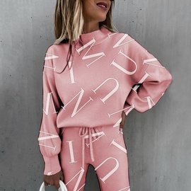 Tie-dye Printing High-neck Long-sleeved Fashion Casual Set NSKX36813