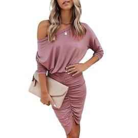 Long-sleeved Round Neck Fold Sexy Irregular Dress NSKX36816