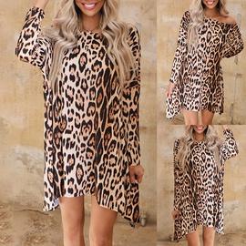 Leopard Print Long-sleeved Loose Dress NSKX36818
