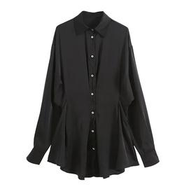 Neckline Embroidery Loose Lapel Satin Shirt Dress NSAC36832