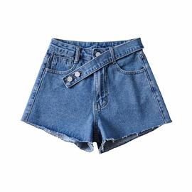 High-waist No Elastic Loose Denim Shorts  NSAC36837