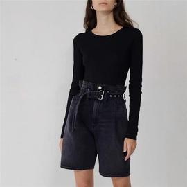Belt Design High Waist Five-point Jeans NSLD36851