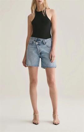 Irregular Placket Design High Waist Jean Shorts  NSLD36853