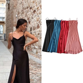 Hem High Slit Design Large Swing Sling Dress  NSLD36854